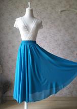 Ladies TEAL Chiffon Full long Skirt Women Maxi Skirt Custom Bridesmaid Skirt image 3