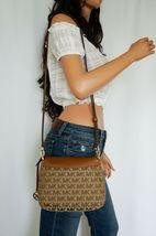 Michael Kors Bedford Small Flap Crossbody Jacquard Leaher Bag MK Beige Brown image 3