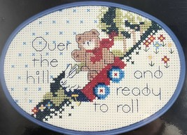 Vintage Counted Cross Stitch Over the Hill & Ready to Roll Teddy Bear & ... - $11.13