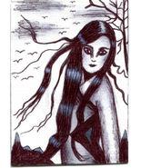woman windy day long hair original aceo art drawing trees birds miniatur... - $6.99