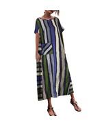 Women Casual Boho maxi dress Striped Printed O Neck Loose Maxi Kaftan Su... - $15.80