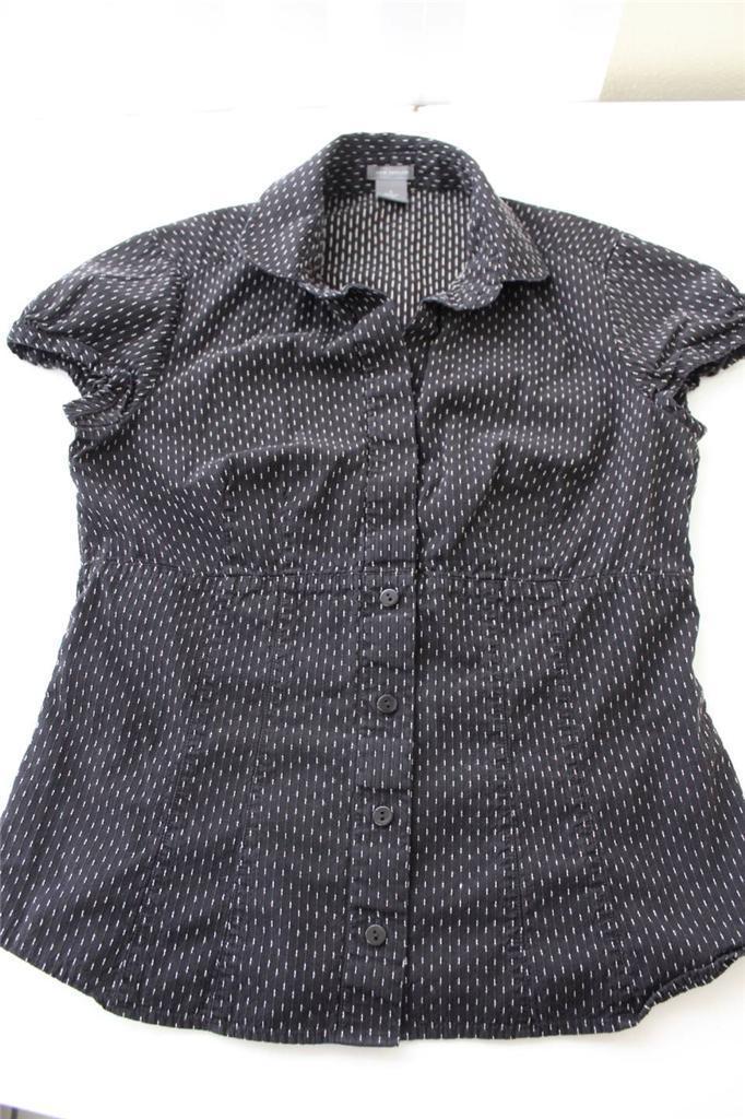 W9187 Womens ANN TAYLOR Black White Cotton Cap Sleeve BUTTON UP SHIRT Blouse 6 - $12.60