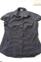 W9187 Womens ANN TAYLOR Black White Cotton Cap Sleeve BUTTON UP SHIRT Bl... - $12.60