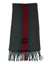 NWT Gucci 319956 Unisex Green, Red, Green Webstripe Wool Scarf, Multicolor - £140.13 GBP