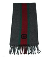 NWT Gucci 319956 Unisex Green, Red, Green Webstripe Wool Scarf, Multicolor - £135.56 GBP
