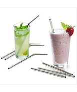 Set of 7 Stainless Steel Metal Drinking Straw Reusable Juice Pipe Cleane... - $12.99