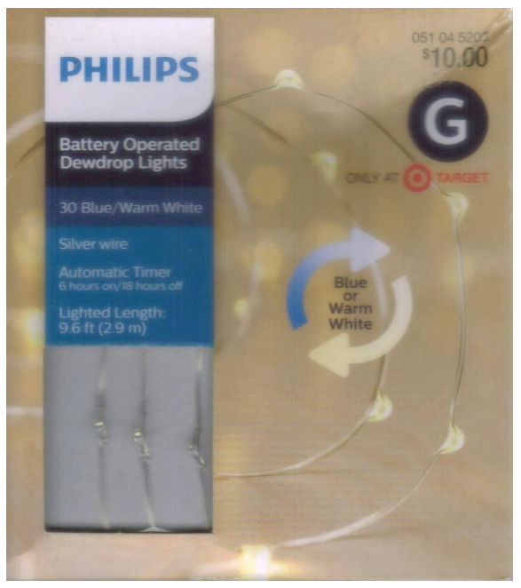 Philip 30ct Christmas Battery Operated LED Blue White Dewdrop Fairy String Light