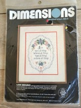 1984 Dimensions Counted Cross Stitch Love Endures Kit New Sealed - $12.86