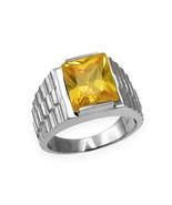 Sterling Silver Mens Square CZ November Birthstone Watchband Ring - $64.99