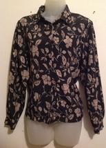 Koret Petites Women's Sz PS Blouse Black & Gold Floral Button Front Long... - $8.79