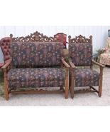 Quartersawn Oak Carved Loveseat & Armchair/Parl... - $2,454.50