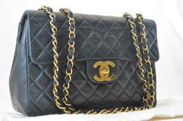 CHANEL Lamb Skin Jumbo CC Matelasse 34 Chain Shoulder Bag Black Auth sa372 - $2,580.00