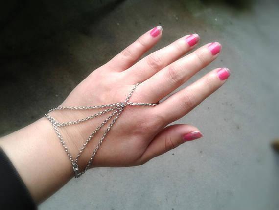 Harness Slave Bracelet Silver Hand Chain Boho Slave Bracelet Ring Harness Bracel
