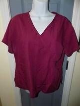 Cherokee Burgundy Short Sleeve Scrub Shirt Size Small Women's EUC - $21.12