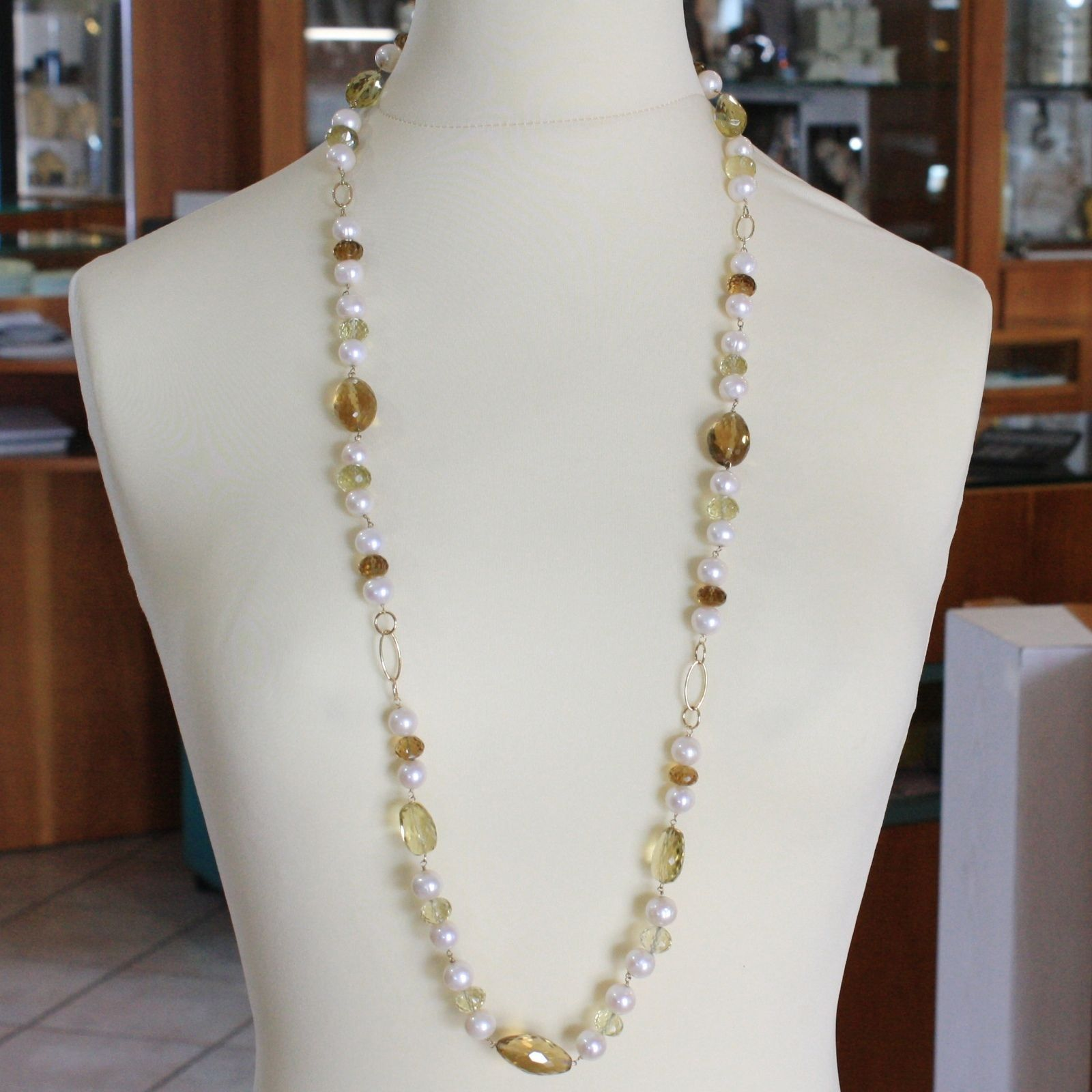 18K YELLOW GOLD LONG NECKLACE BIG LEMON BEER QUARTZ, PEARL, 90 CM, MADE IN ITALY