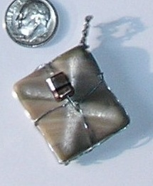 Grey, Pink and Brown Square Necklace Pendant wrapped in Silv
