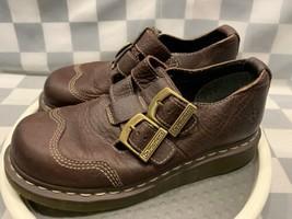 Dr Marten Marrón Punta Cerrada Correa Doble Zapatos Sandalia Mujer Talla 7 - $46.56