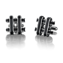 Stainless Steel Cufflinks with Black Resin Inlay - $49.99