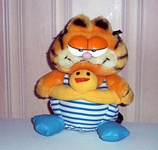 "Garfield Cat Ready for Summer with Duck Swim Ring Plush 8"" Dakin Vintage 1981 - $14.95"