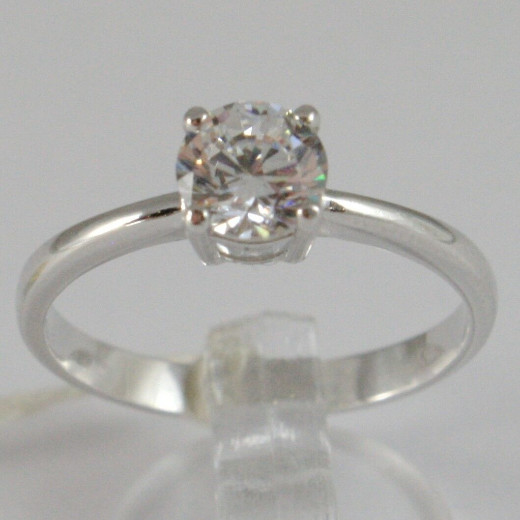 White Gold Ring 750 18k, solitaire Cubic Zirconium CT 0.77, Made in Italy