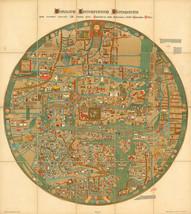 1898 Flat Earth Mappa Mundi World Map Gervase of Ebstorf Historic Poster Print - $12.38
