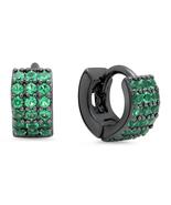 STEELTIME Ladies Black IP brass green spinel huggie earrings  - $24.99