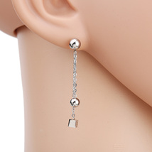 UE- Contemporary Silver Tone Designer Post Earrings With Dangling Ball & Cube - $14.99