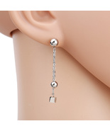 UE- Contemporary Silver Tone Designer Post Earrings With Dangling Ball &... - $12.99