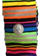 Black Bright RAINBOW STRIPES KNEE HIGH SOCKS Rockabilly Soccer Volleybal... - $5.91
