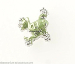 10pc Lot Silver Tone & Green Tree Frog Floating Charm For Glass Memory Lockets - $8.90