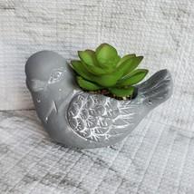 Concrete Planter, Bird with Faux Succulent, Pot & Artificial Plant Arrangement image 1