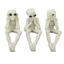 See, Hear, Speak No Evil Alien Shelf Sitter Computer Top Sitters - $23.75