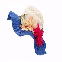 Woven Hat 2 flowers design Floppy Women Beach Cap - $25.60