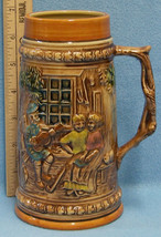 Vintage Ceramic Beer Stein Mug Textured Musican Playing Guitar For Coupl... - $10.34