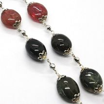SILVER 925 NECKLACE, TOURMALINE OVALS, GREEN AND REDHEAD, SPHERES FACETED image 3