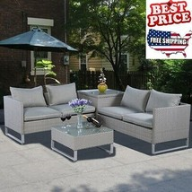 Patio Furniture Sets Clearance Outdoor Sofa Lounger Rattan Table Cushion... - $832.24