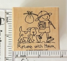 Return with Honor Rubber Stamp Stampin Up Boy Dog Bible Bindle Wood Moun... - $1.93