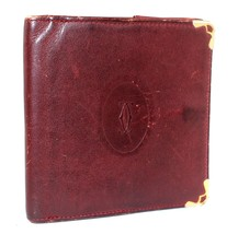 Auth Must de Cartier bordeaux leather Wallet Coin Case coin folder Coin box - $85.54