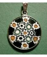 18mm Murano Millefiori Lampwork Glass Pendant 925 Italian Silver Black H... - $21.95