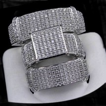 Valentine Day 14K White Gold Over Simulated Wedding Ring Bands Trio Brid... - $126.09