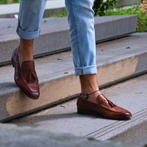 Men's Handmade cowhide leather loafers, men loafers and slip one's, men shoes - $144.99+