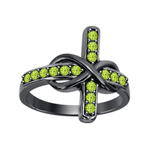 0.50 ct Round Cut Peridot 18K Black Gold Over 925 Silver Infinity Cross Ring - $72.24