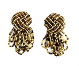Gold & Bronze Glass Tube Seed Bead Earring Clips - $16.00