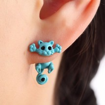Fashion Multiple Color Fashion Kitten Animal Jewelry Cute Cat Stud Earrings - $6.29