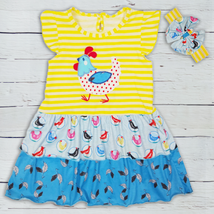NEW Boutique Rooster Girls Yellow Ruffle Easter Dress Headband Bow Outfit  - $16.99