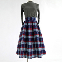 RED PLAID Women Midi Skirt Autumn Classic Plus Size Flannel Long Plaid Skirts image 10