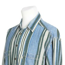 Levis Blue Green White Striped Denim Cotton Casual Shirt Metal Buttons M... - $29.56