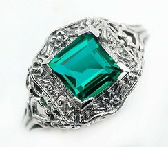 3CT Emerald Quartz 925 Sterling Silver Victorian Style Ring Jewelry Sz 9... - $28.70