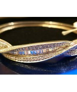 Elegant Sterling Silver Bangle Cuff Bracelet Exquisite Glittering CZ Bag... - $137.75