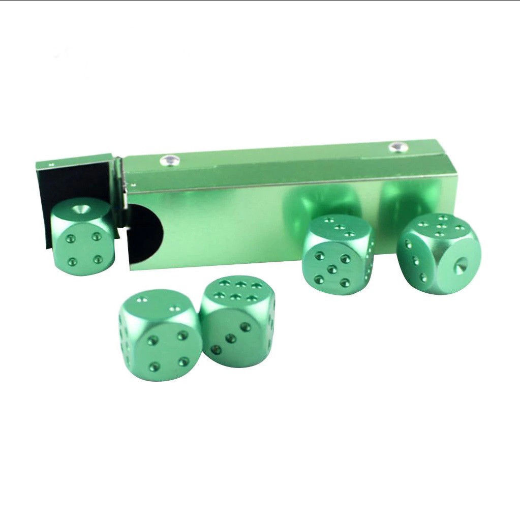 D6 Aluminum Gaming Dice 5 Piece Set, Six Sided, Board Game, RPG, Unique Green